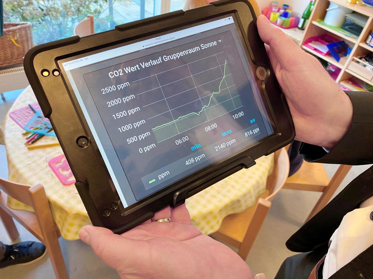 Umweltdaten auf Tablet